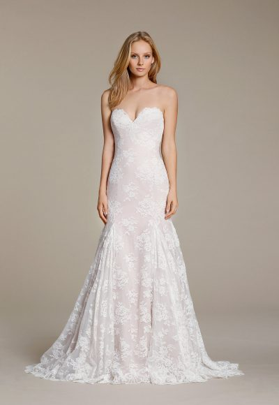 Sweetheart Lace Fit And Flare Wedding Dress by Jim Hjelm