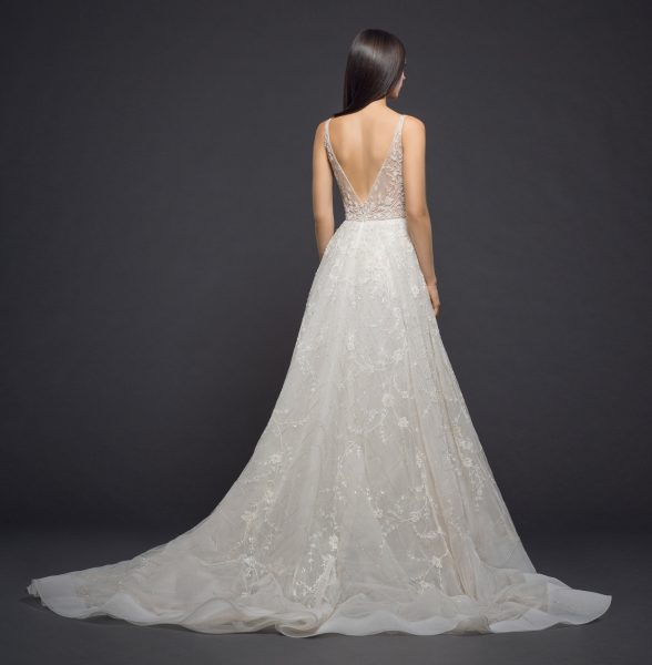 Beaded V-neck Bodice A-line Wedding Dress by Lazaro - Image 2