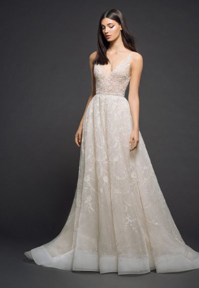 Beaded V-neck Bodice A-line Wedding Dress by Lazaro
