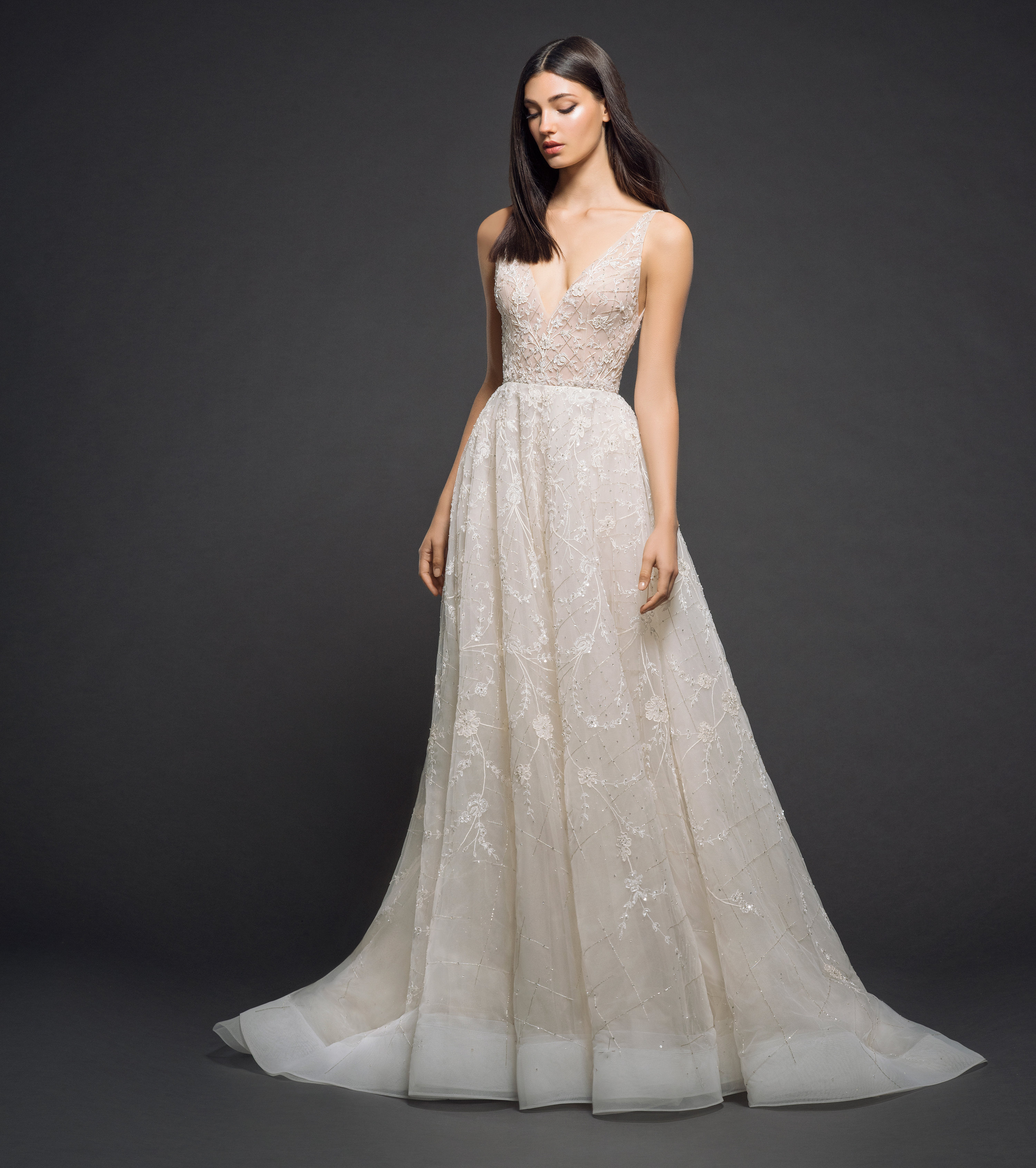 Wedding Gown Stores Nyc: Beaded V-neck Bodice A-line Wedding Dress