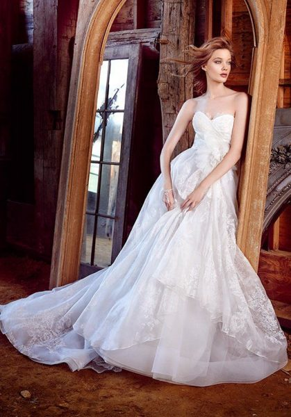 Sweetheart Neck Strapless Lace Detailed Ball Gown Wedding Dress by Lazaro - Image 1