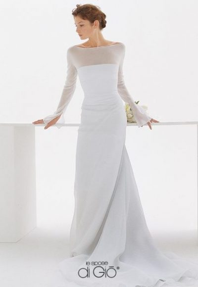3/4 Length Sleeves Bateau Neck A-line Wedding Dress by Le Spose Di Gio