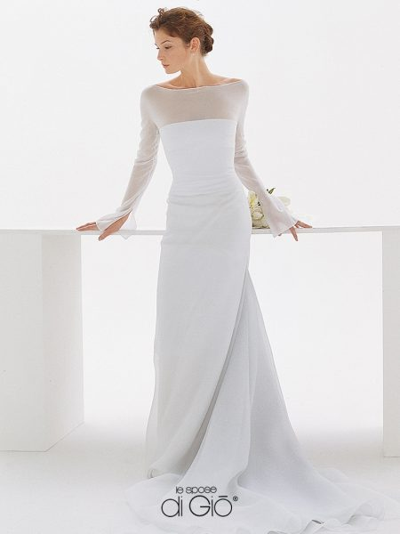 3/4 Length Sleeves Bateau Neck A-line Wedding Dress by Le Spose Di Gio - Image 1