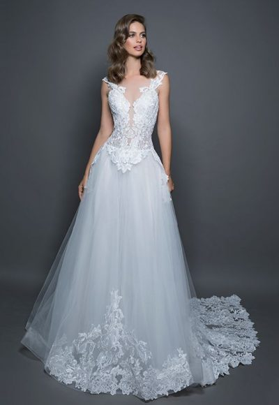 Lace Detailed Sleeveless Bodice Tulle Skirt A-line Wedding Dress by Love by Pnina Tornai