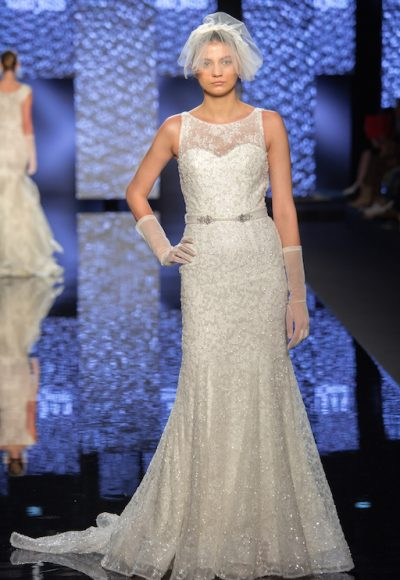 Illusion Neckline Sequin And Beading Embellishments Wedding Dress by Lusan Mandongus