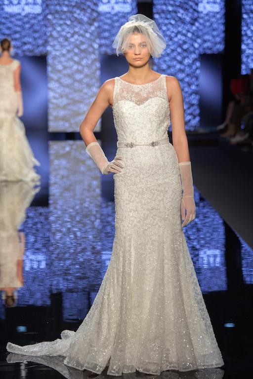 Illusion Neckline Sequin And Beading Embellishments Wedding Dress - Image 1