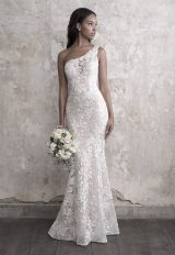 One Shoulder Lace Fit And Flare Wedding Dress by Madison James - Image 1