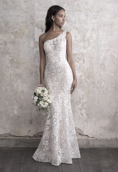 One Shoulder Lace Fit And Flare Wedding Dress by Madison James