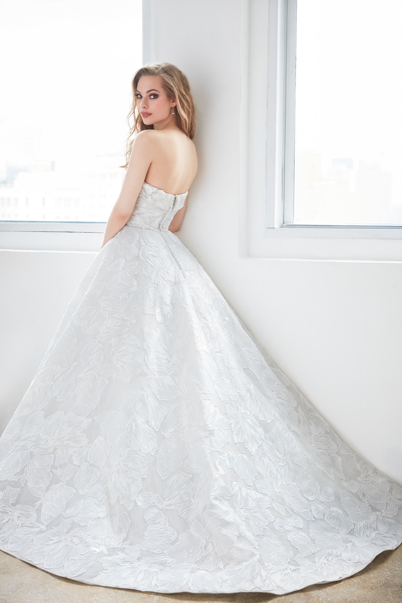 Straight Strapless Floral Lace Ball Gown Wedding Dress   Kleinfeld ...