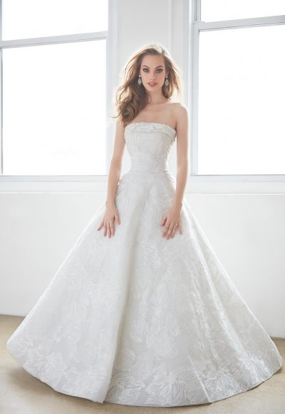 Straight Strapless Floral Lace Ball Gown Wedding Dress by Madison James