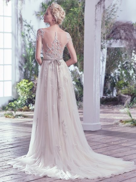 Beaded Cap Sleeve Swetheart Neckline Sheath Wedding Dress by Maggie Sottero - Image 2