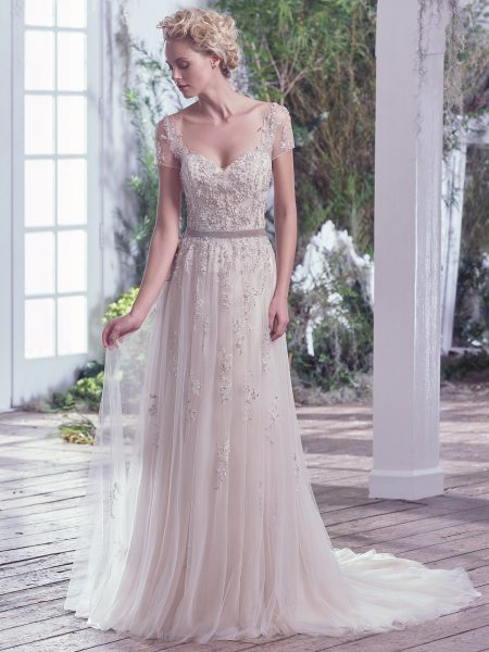 Beaded Cap Sleeve Swetheart Neckline Sheath Wedding Dress by Maggie Sottero - Image 1