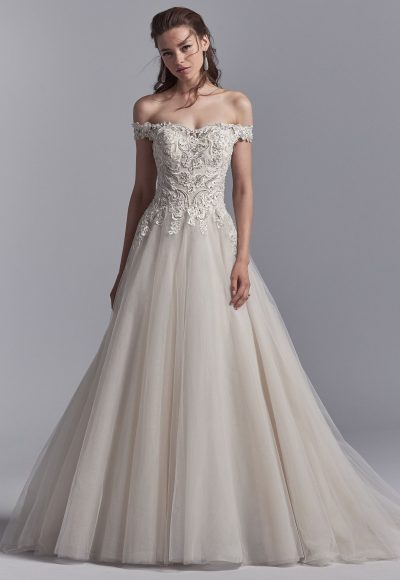 Beaded Sweetheart Off The Shoulder Bodice Tulle Skirt Wedding Dress by Maggie Sottero