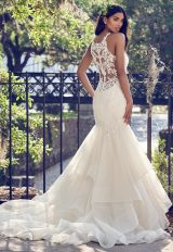 Deep V-neck Halter Lace Applique Fit And Flare Wedding Dress by Maggie Sottero - Image 2