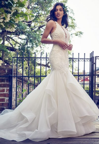 Deep V-neck Halter Lace Applique Fit And Flare Wedding Dress by Maggie Sottero