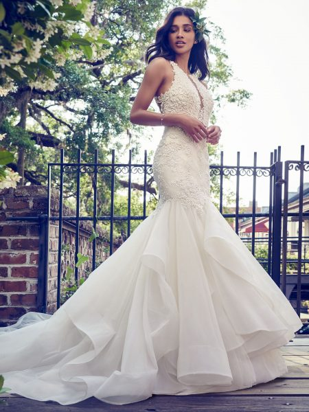 e49b5fa7ca93 Deep V-neck Halter Lace Applique Fit And Flare Wedding Dress by Maggie  Sottero -