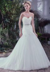 Drop Waist Fit And Flare Wedding Dress With Lace Bodice And Sweetheart Neckline by Maggie Sottero - Image 1