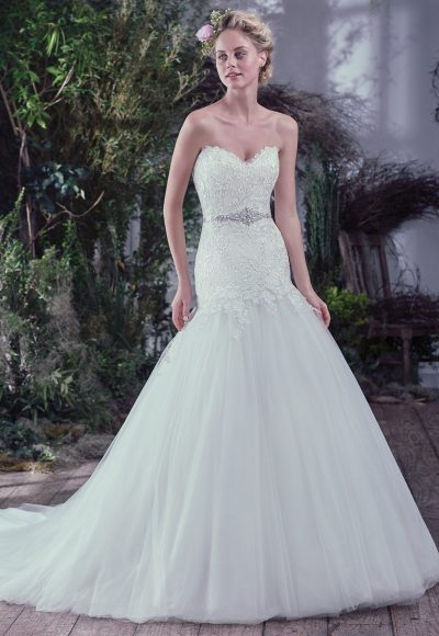 Drop Waist Fit And Flare Wedding Dress With Lace Bodice And Sweetheart Neckline by Maggie Sottero