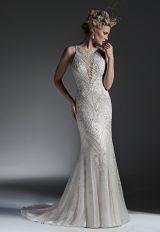 High Neckline Fully Beaded Sheath Wedding Dress by Maggie Sottero - Image 1
