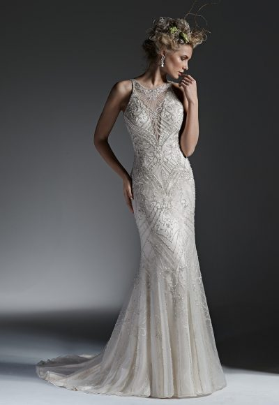 High Neckline Fully Beaded Sheath Wedding Dress by Maggie Sottero
