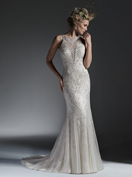 High Neckline Fully Beaded Sheath Wedding Dress Kleinfeld Bridal