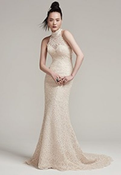 High Neckline Sleeveless Illusion Top Wedding Dress by Maggie Sottero