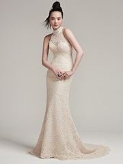 High Neckline Sleeveless Illusion Top Wedding Dress by Maggie Sottero - Image 1
