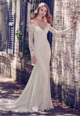 Illusion Off The Shoulder Lace Fit And Flare Wedding Dress by Maggie Sottero - Image 1