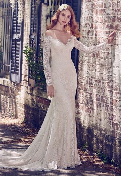 Illusion Off The Shoulder Lace Fit And Flare Wedding Dress by Maggie Sottero