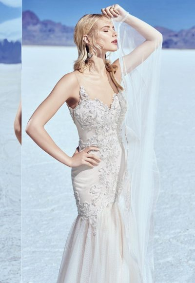 Illusion Sweetheart Neck Beaded Bodice Fit And Flare Wedding Dress by Maggie Sottero