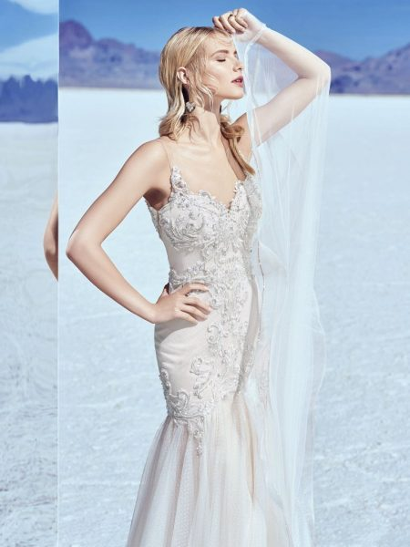 Illusion Sweetheart Neck Beaded Bodice Fit And Flare Wedding Dress by Maggie Sottero - Image 1