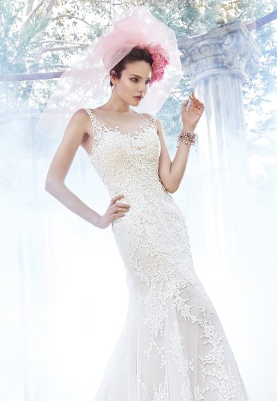 Illusion Top Beaded Fit And Flare Wedding Dress by Maggie Sottero