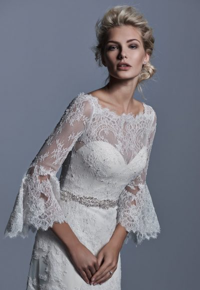 Long Bell Sleeve Illusion Sweetheart Neck A-line Wedding Dress by Maggie Sottero