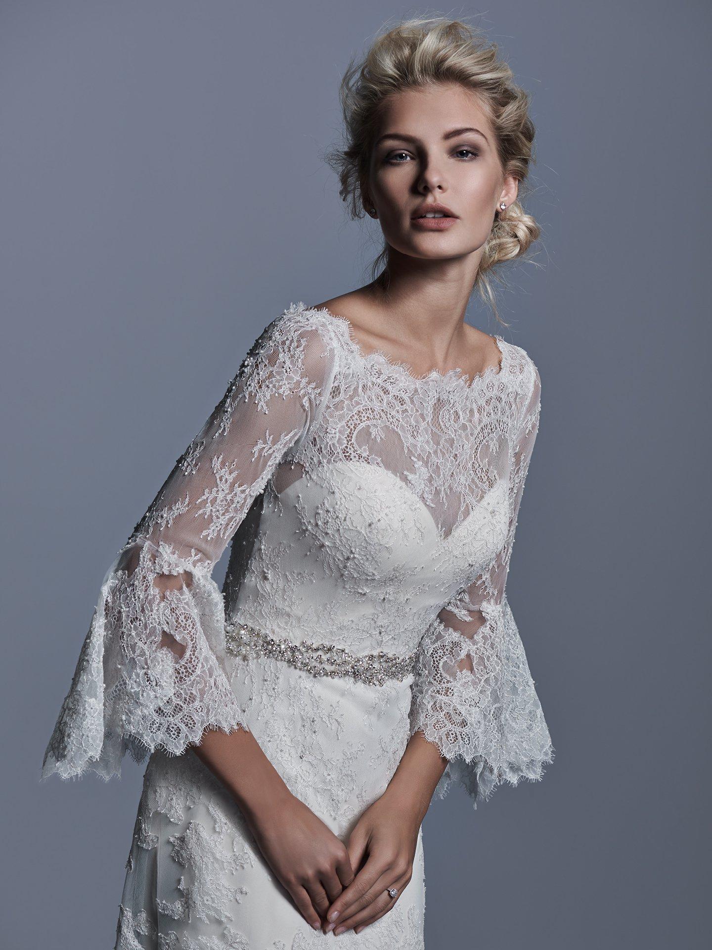 Long Bell Sleeve Illusion Sweetheart Neck A-line Wedding Dress ...