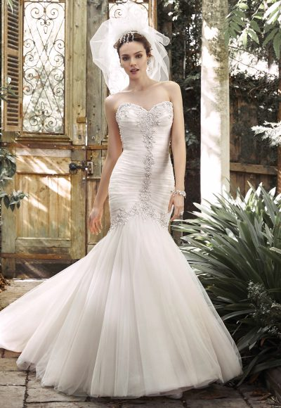 Pleated Tulle Fit And Flare Wedding Dress With Crystals And Pearls Tracing The Sweetheart Neckline And Bodice by Maggie Sottero