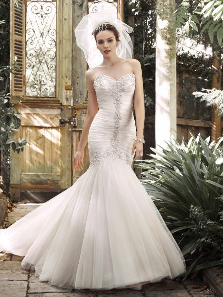 Pleated Tulle Fit And Flare Wedding Dress With Crystals Pearls Tracing The Sweetheart Neckline