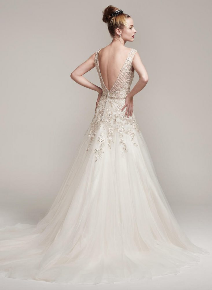 Sleeveless Beaded Bodice A-line Wedding Dress by Maggie Sottero - Image 2