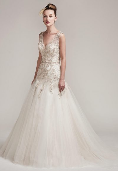 Sleeveless Beaded Bodice A-line Wedding Dress by Maggie Sottero