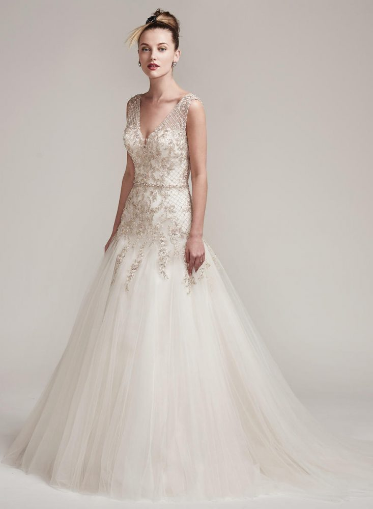 Sleeveless Beaded Bodice A-line Wedding Dress by Maggie Sottero - Image 1