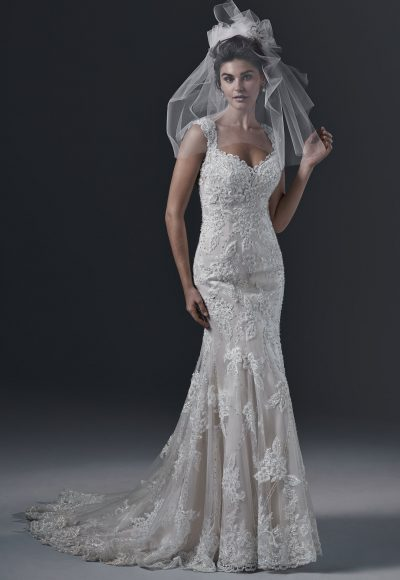 Sweetheart Neck Full Lace Fit And Flare Sleeveless Wedding Dress by Maggie Sottero