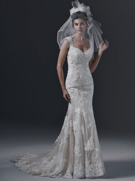 Sweetheart Neck Full Lace Fit And Flare Sleeveless Wedding Dress by Maggie Sottero - Image 1