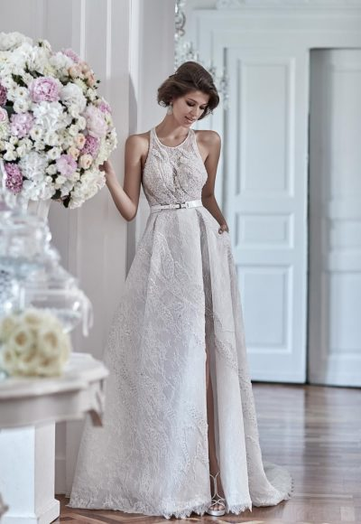 Halter Beaded Bodice Wedding Dress by Maison Signore