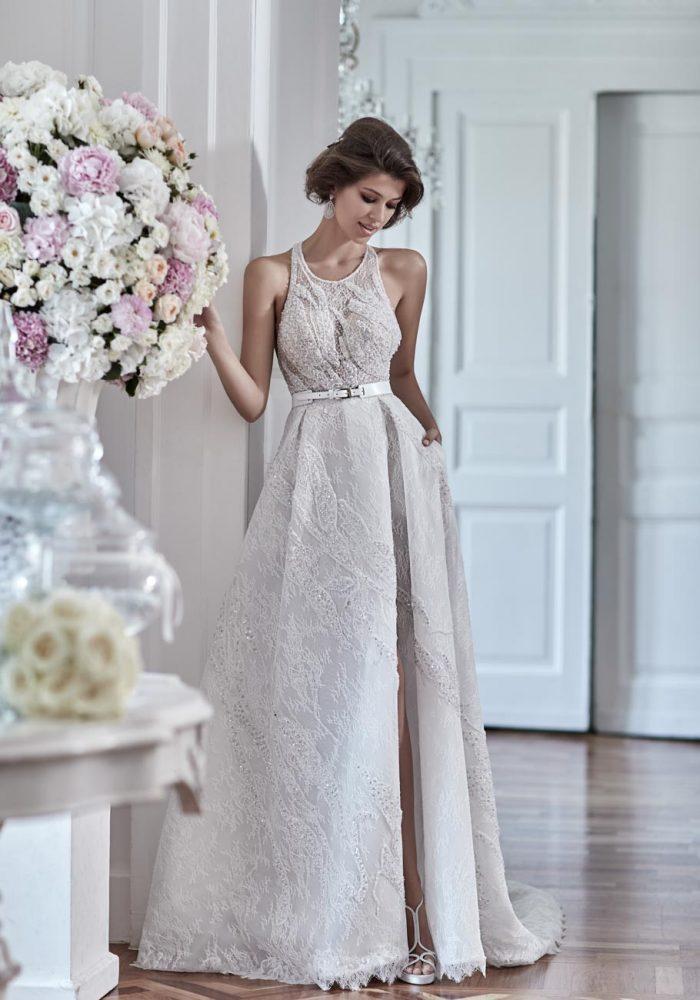 Halter Beaded Bodice Wedding Dress by Maison Signore - Image 1