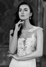 Illusion Lace Sleeveless Wedding Dress by Maison Signore - Image 1