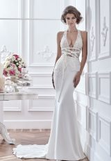 Sexy Beaded Deep V-neck Bodice And Silk Skirt Wedding Dress by Maison Signore - Image 1
