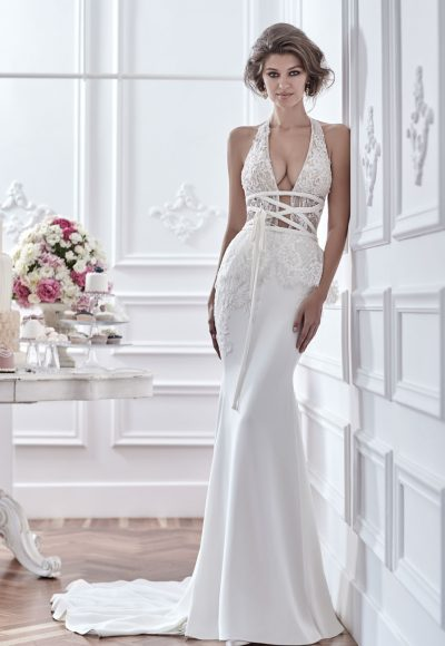 Sexy Beaded Deep V-neck Bodice And Silk Skirt Wedding Dress by Maison Signore