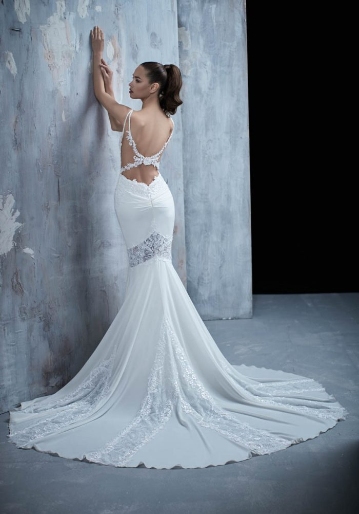 Spaghetti Strap Lace Bodice Fit And Flare Wedding Dress by Maison Signore - Image 2