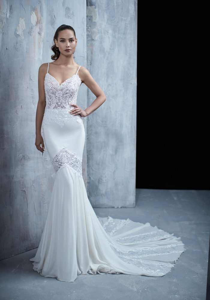 Spaghetti Strap Lace Bodice Fit And Flare Wedding Dress by Maison Signore - Image 1