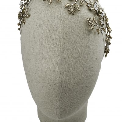 Asymmetrical Vine Halo With Gold And Swarovski Crystals by Maria Elena