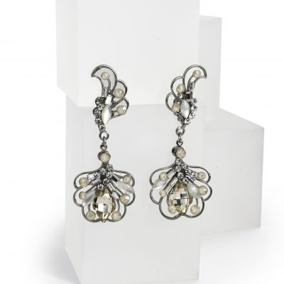 Silver Drop Earrings With Swarovski Crystals by Maria Elena